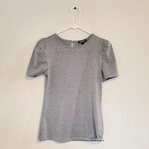 Express Short Puff Sleeve Glitter Top